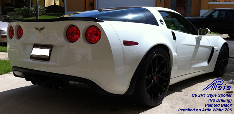 C6 ZR1 Style Spoiler-painted black installed on white z06-1