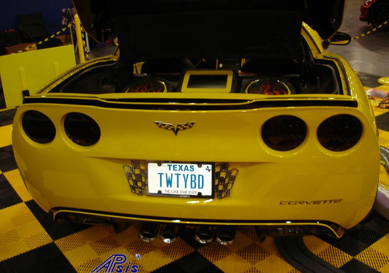 C6 ZR1 Style Spoiler-painted black w-yellow stripe- installed on tweetybird-1