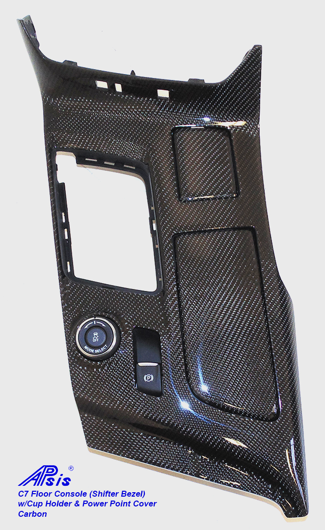 C7 Floor Console(Shifter Bezel)-CF-individual-4 w-cup holder