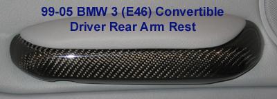 E46 Conv. Driver Rear Arm Rest Blk CF - 400