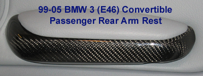 E46 Conv. Pass Rear Arm Rest Blk CF - 400