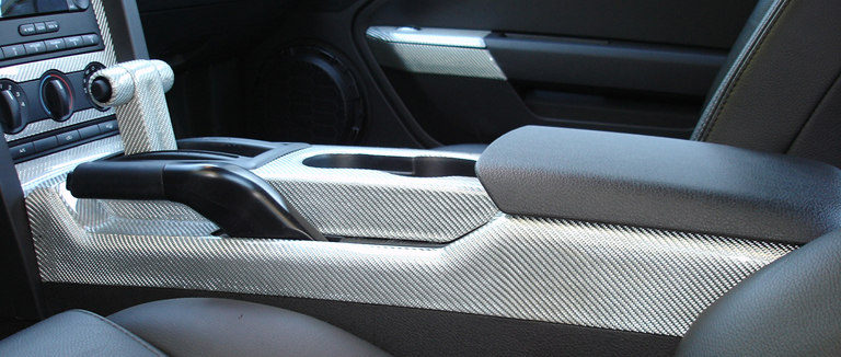Mustang 05 Silver CF-Floor Console-install-left view-768