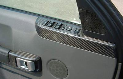 R.R. BlackCF-DF Power Switch Bezel & Door Handle-installed 400