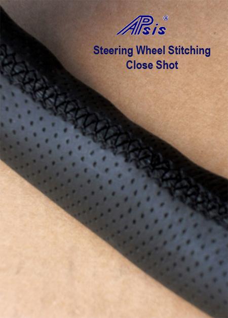 Steering Wheel Stitching Close Shot