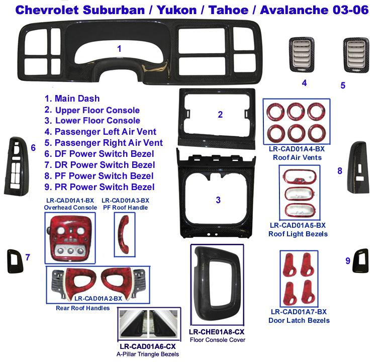 Suburban 03-06 Black CF Lamination Diagram - 768