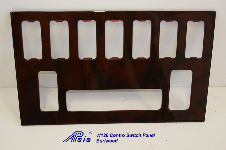 W126 Control Switch Panel w-7 holes- burlwood-2 indoor