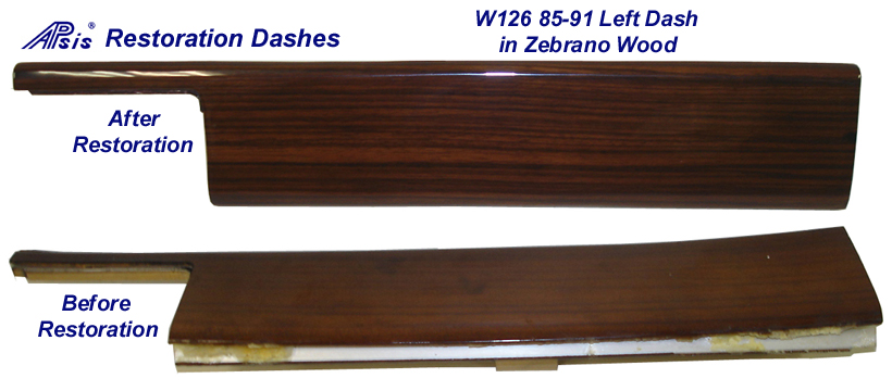 W126 - Left Dash - Zebrano - After & Before restoration - 768