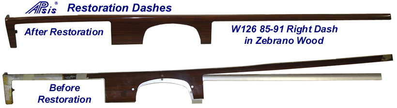 W126 - Right Dash - Zebrano - After & Before restoration - 768