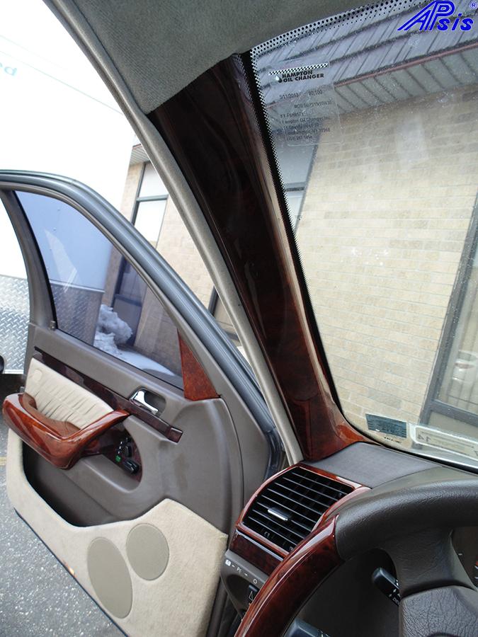 W140 A-Pillar Burlwood-installed-1b 800