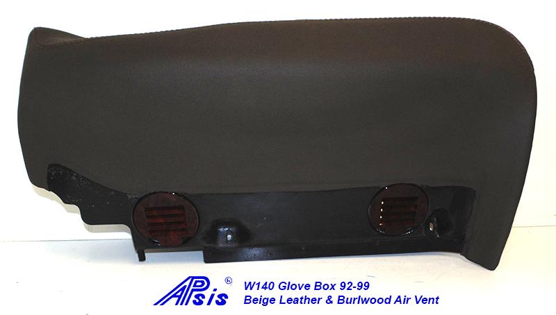 W140 Glove Box-beige w-beige stitching w-wood air vent-2