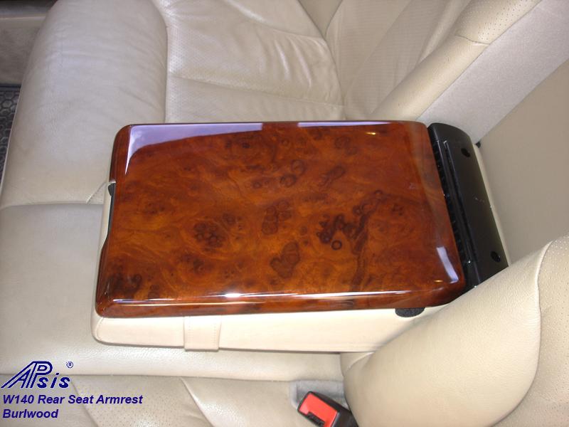 W140 Rear Seat Armrest-burl-insalled-3a