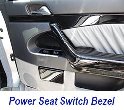 W140 power seat swtich bezel-black piano 250
