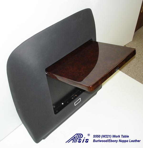 W220 Work Table-ebony nappa-individual-flip down-side view-2