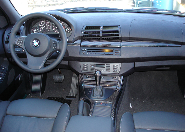 X5 Black CF installed-Full Dash-center view - 768
