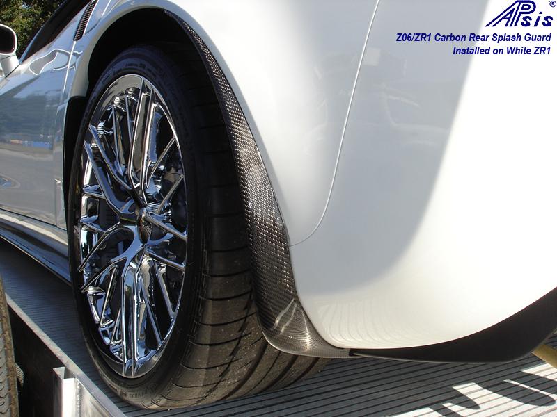 Z06 CF Rear Splash Guard-installed on white car-driver-1