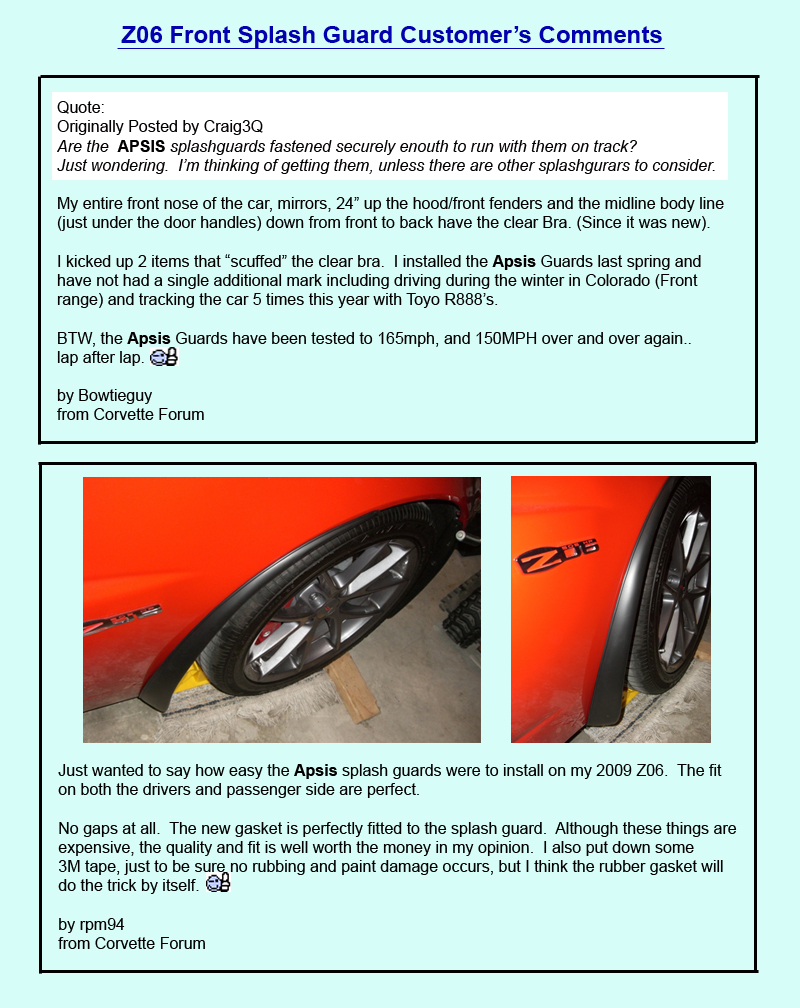 Z06 Front Splash Guard Customer Comment - 1