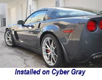 Z06 Front Splash Guard installed on cyber gray