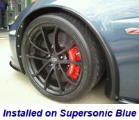 Z06 Front Splash Guard installed on supersonic blue