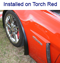 Z06 Front Splash Guard installed on torch red
