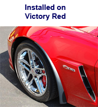 Z06 Front Splash Guard installed on victory red