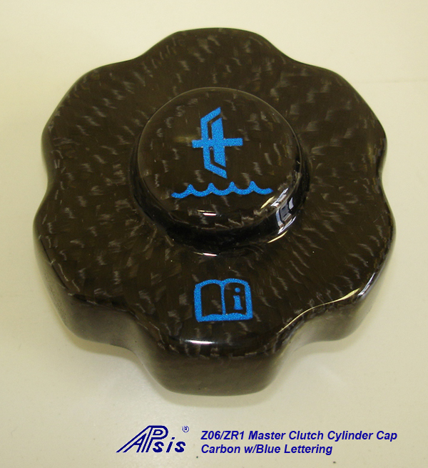 Z06 Master Clutch Cylinder Cap-CF w-blue lettering-individual-1
