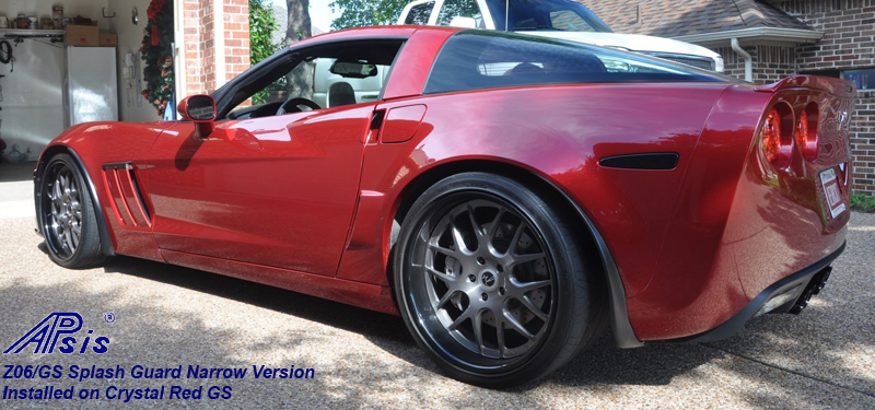 Z06 Narrow Splash Guard installed on crystal red-from bob hola-3 crop