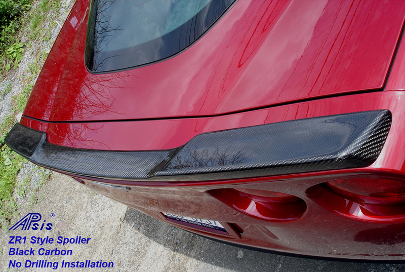 ZR1 Carbon Spoiler installed on crystal red-rear-3